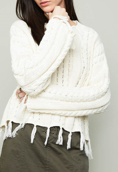 Kixters - Ivory Frayed Cable Knit Sweater
