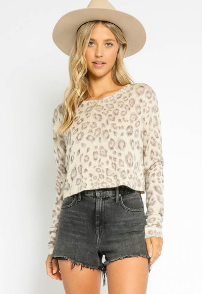 Cropped Leopard Long Sleeve Top - Grey Leopard