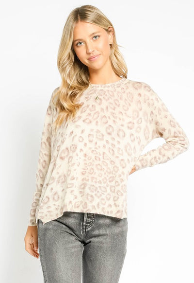 Long Sleeve Leopard Side Zipper Top - Grey Leopard