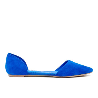 Jeffrey Campbell In Love- Blue Suede D'Orsay Slip-On Flat