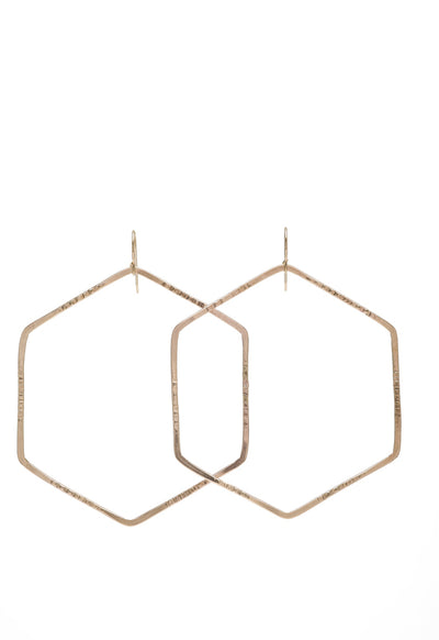 Hex Earrings - 14k Gold