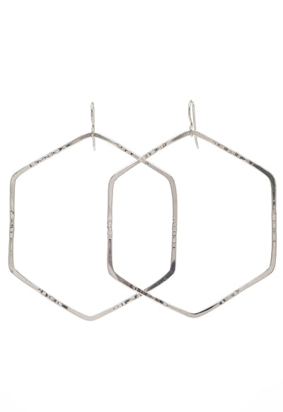 Hex Hoop Earrings - Sterling Silver