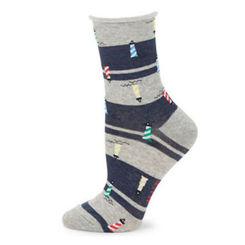 Hue Lighthouse Sock- Light Charcoal
