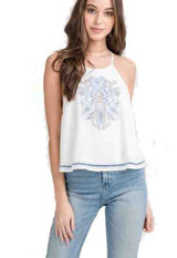 White Embroidered Woven Sleeveless Top