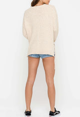 Lush - Cream Lace-Up Bounce Sweater