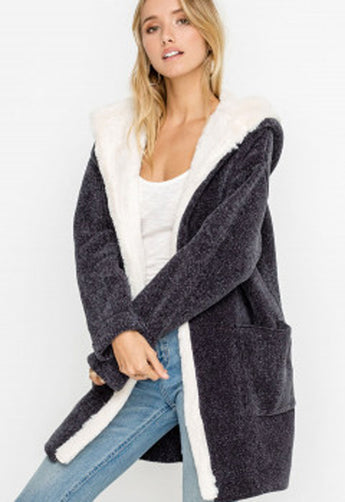 Lush - Charcoal Velvet Fur-Lined Long Hooded Jacket