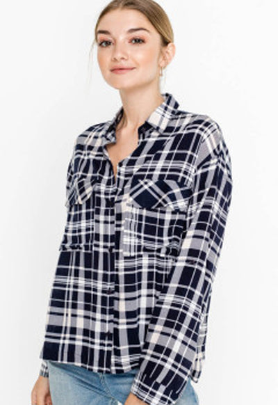 Lush - Navy/Off White Plaid Button Down Shirt