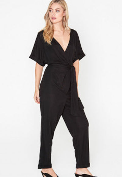 Lush - Black Folded Short Sleeve Jumpsuit
