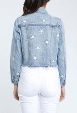 Pistola - Light Blue Denim/White Stars Brando Crop Jacket