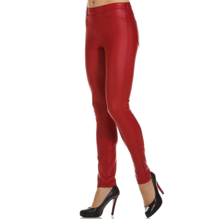 Hue Coated Twill- Red Straight Leg Pant