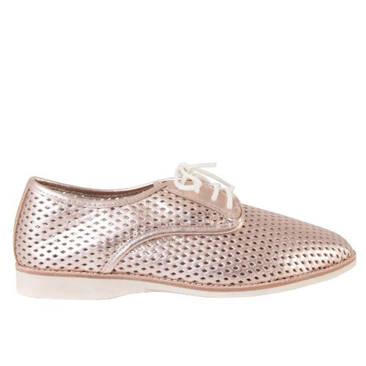 Rollie Derby Punch - Rose Gold Leather Lace-Up Oxford