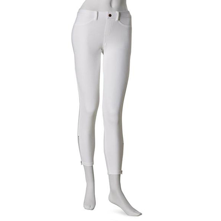 Hue Khaki Skimmer- White Zipper Legging