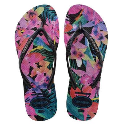 Havaianas Slim Tropical - Black Colorful Floral EVA Flip-Flop