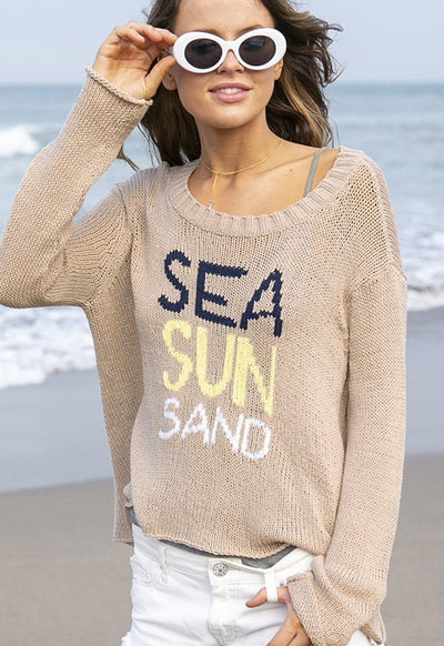 Wooden Ships - Sea, Sun, Sand Sweater Pale Shale
