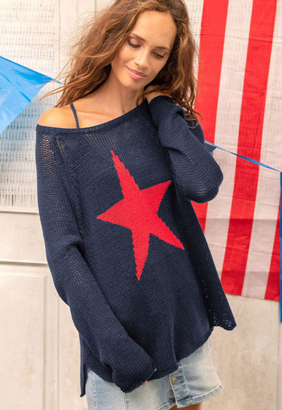 Wooden Ships - Star Raglan Crew Neck Dark Indigo Red