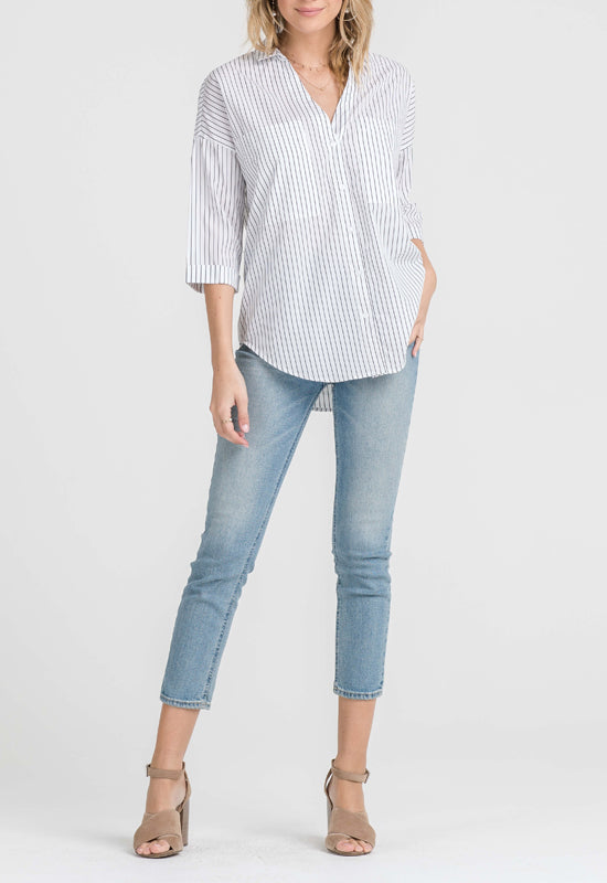 Lush - White w/Black Pinstripe Shirt