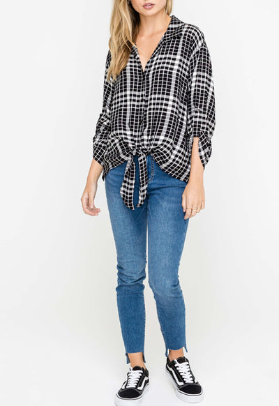 Lush - Black/Ivory Woven Print Tie-Front Top