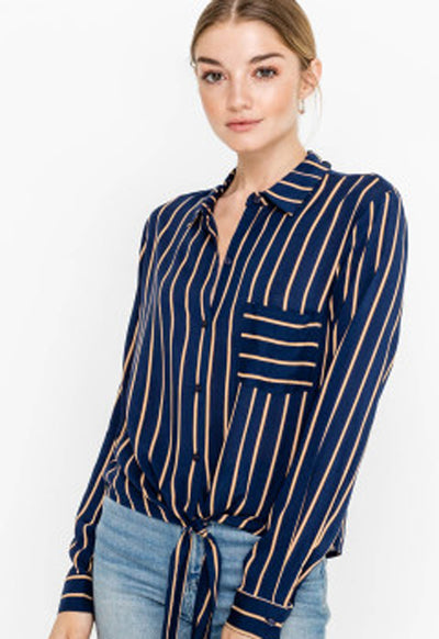 Lush - Navy Rayon Striped Shirt