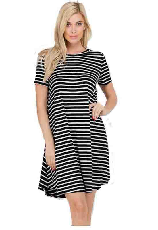 Black/Ivory Jersey Stripe Short Dress