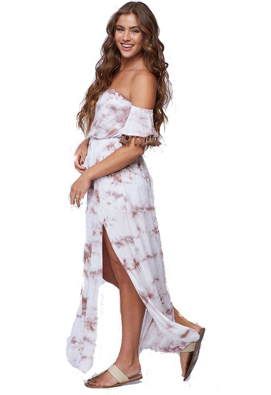 Ivory Multi Woven Rayon Off Shoulder Maxi Dress