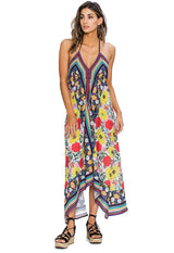Floral and Rainbow Stripe Multi Handkerchief Halter Maxi Dress