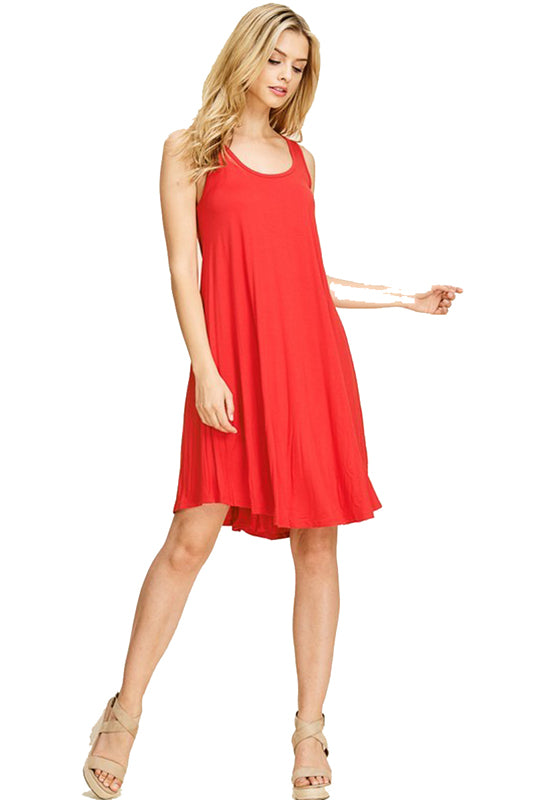 Red Jersey Sleeveless Flare Dress