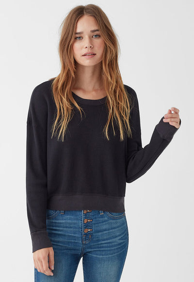 Splendid - Black Wedge Crop Top