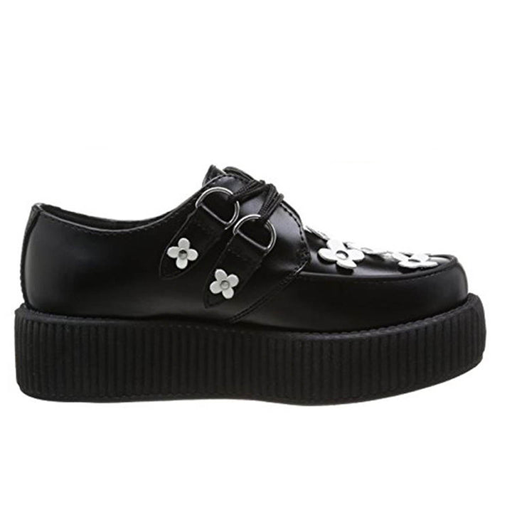 T.U.K. Daisy Round Toe Creeper - Black Leather Lace-Up Platform Oxford