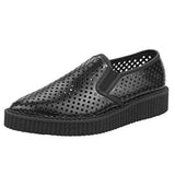 T.U.K. Pointed Perforated Creeper - Black Leather Mesh Slip-On Loafer