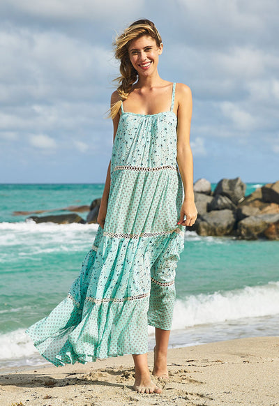 Kixters - Lily Aqua Printed Cotton Maxi Dress