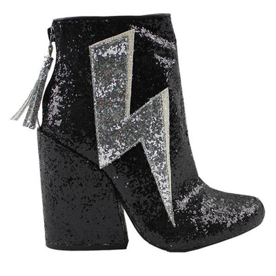 YRU Ziggy- Black Glitter Thunderbolt Boot