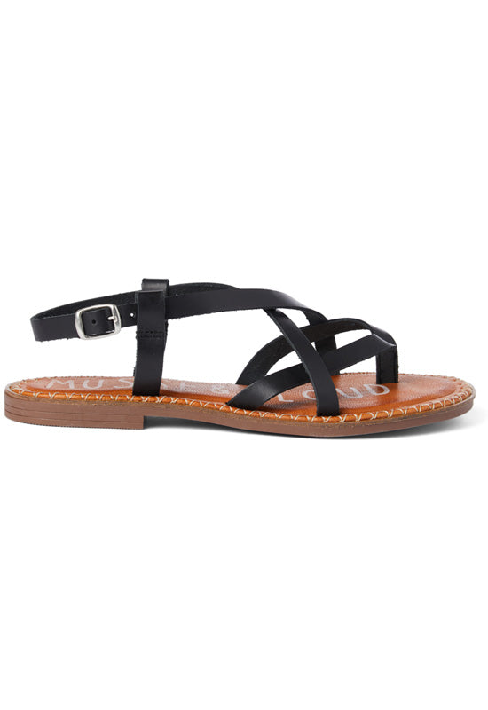 Musse & Cloud Hydra - Black Leather Crisscross Strappy Flat Sandal