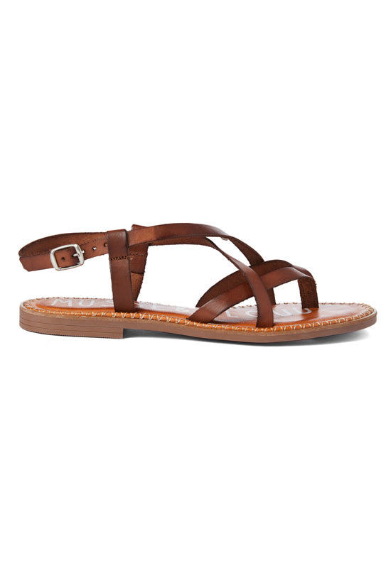 Musse & Cloud Hydra - Cue Leather Crisscross Strappy Flat Sandal