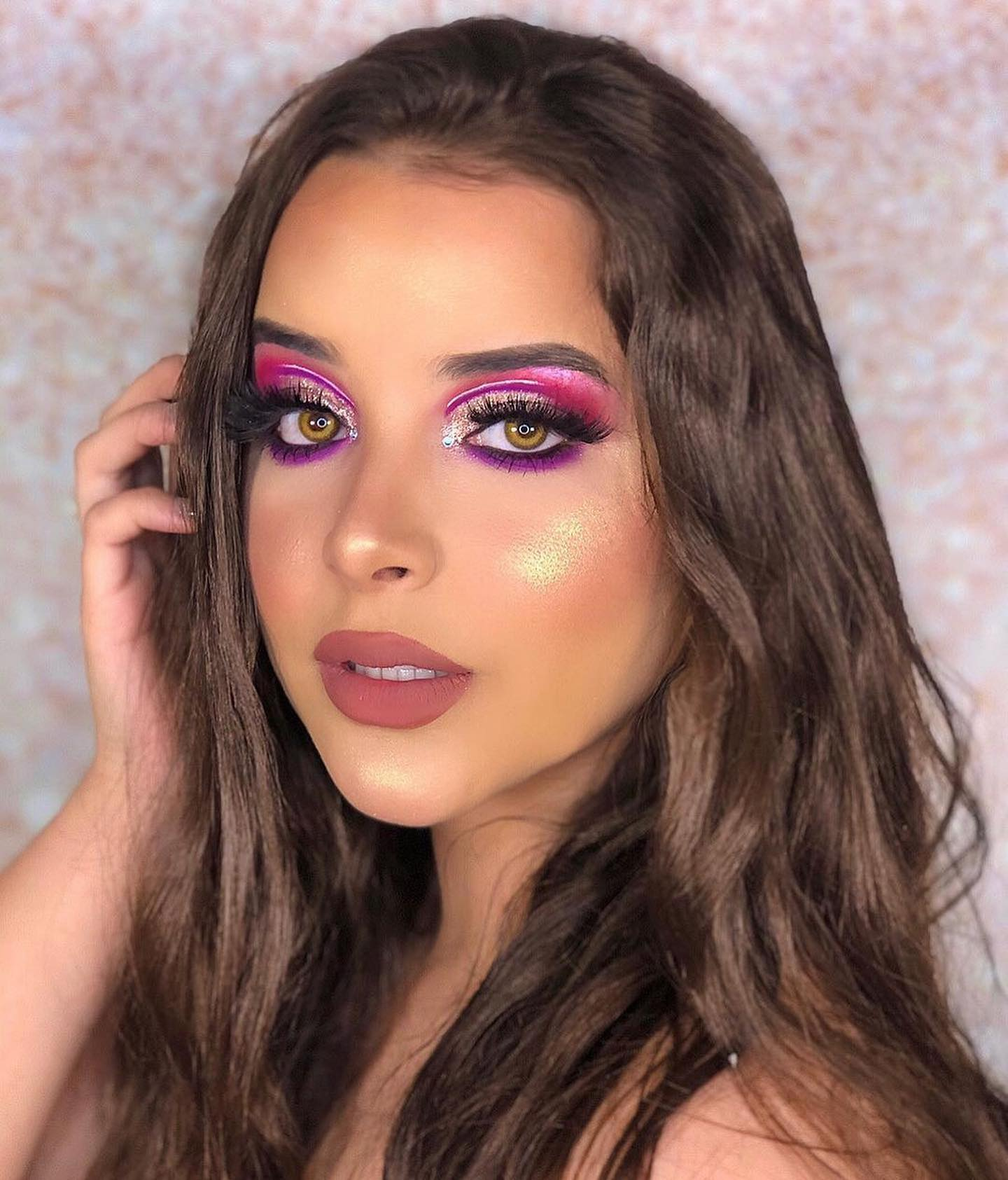 Girl with Bright Make-up Tilting Head