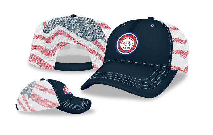 Navy-Flag Mesh Back Cap
