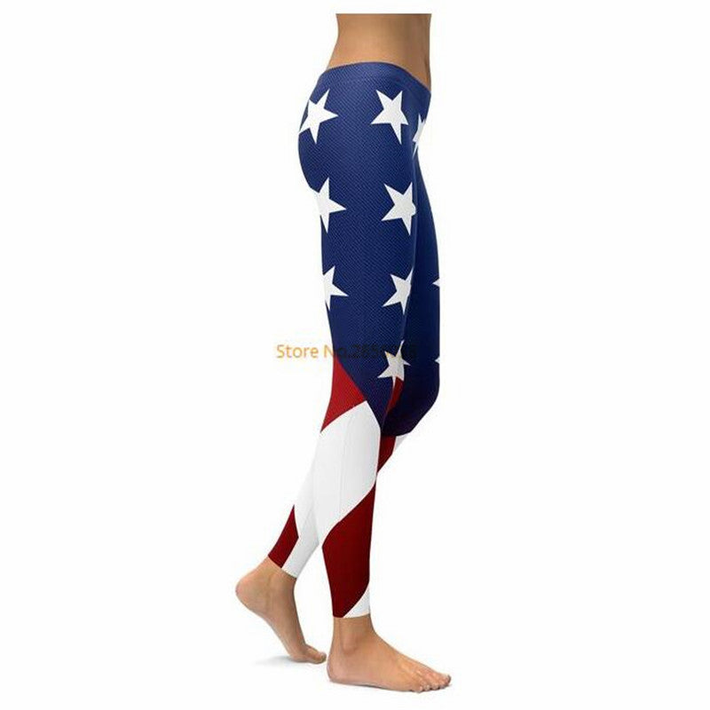 High Quality AMERICAN FLAG LEGGINGS with Straight Elastic Waistband