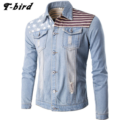 Male Denim Jacket with American Flag Frazzle