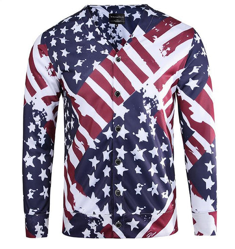 American Flag V-neck Casual Street Wear Thin Jacket