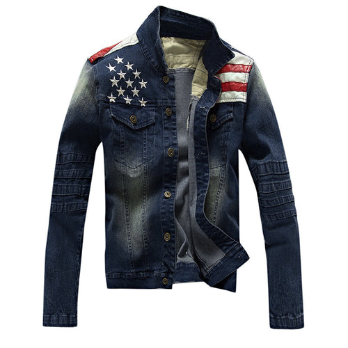Men's Jean Jacket with American Flag Leather Patchwork