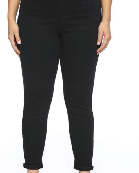 Extended Cello Mid Rise Black Crop Skinny Jeans