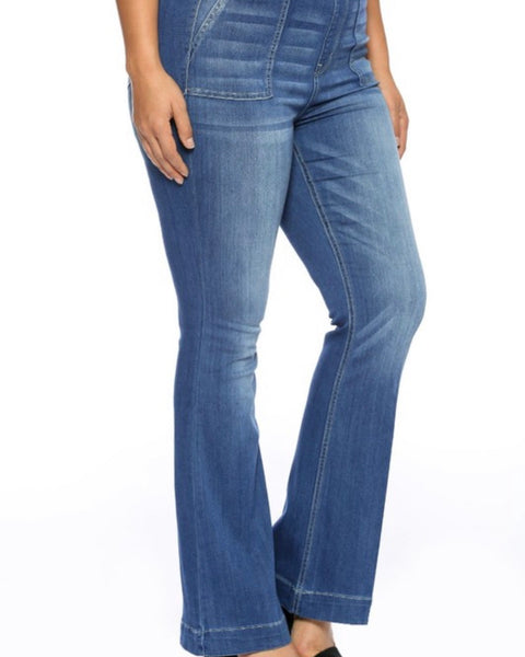 Extended Cello Medium WashMid Rise Flare Patch Pocket Jeggings