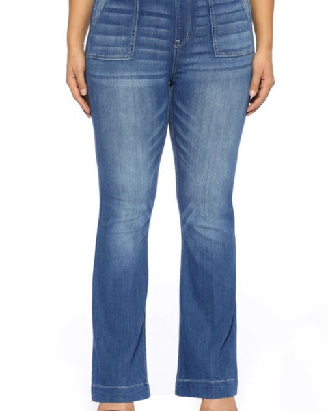Extended Cello Mid Rise Flare Jeggings