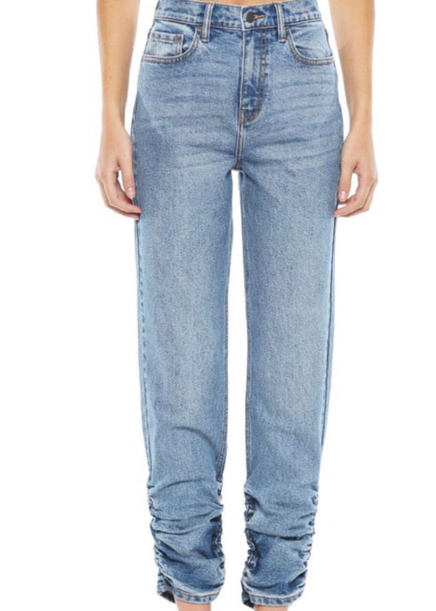 Cello Gathered Hem Mom Jeans