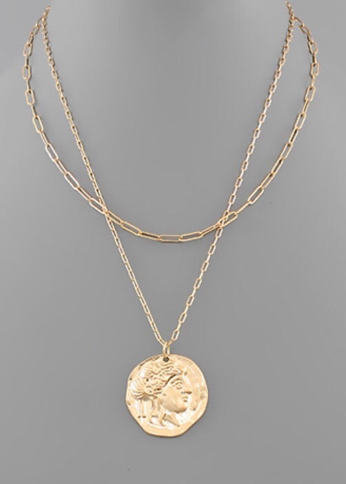 Face Coin Necklace