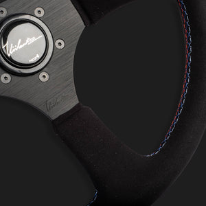The Leggera 350 - Genuine Black Alcantara + Tri-Color Cross Stitch