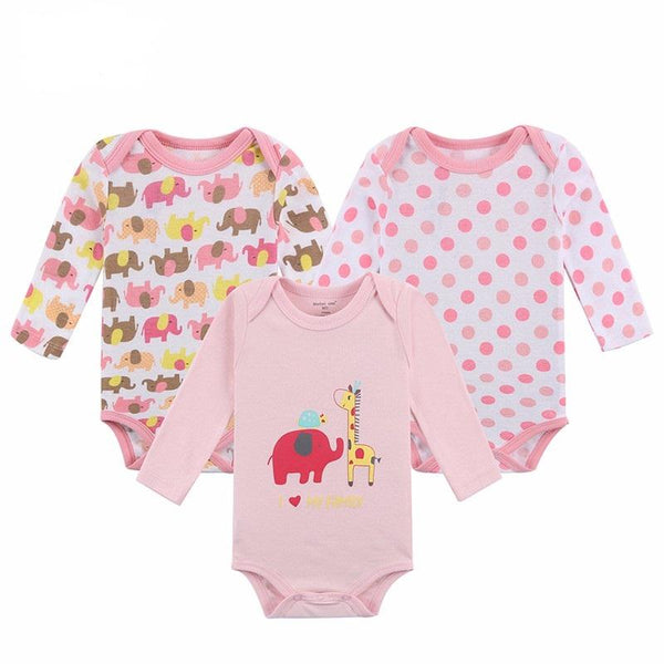 Baby Longsleeve Bodysuit - 3 Pieces Set 100% Cotton