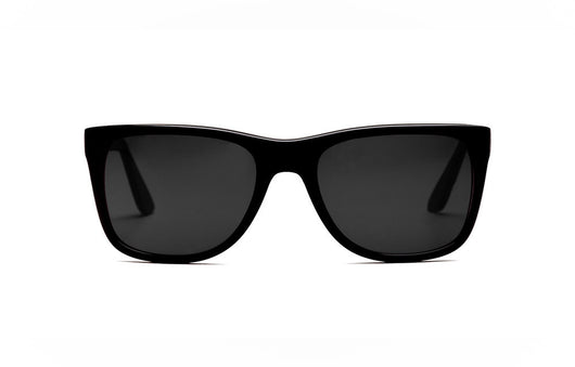Artist-designed Jet Black Acetate luxury sunglasses hancrafted in Greece with rare patented memorabilia personally owned by President John F. Kennedy.