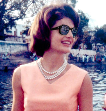 Another Industry First! Bruno Rossellini designed luxury acetate designer sunglasses handcrafted in Greece with a patented, authenticated piece of rare personal property owned and worn by Jackie Kennedy!  Limited Edition: Only 280 Pairs Worldwide.
