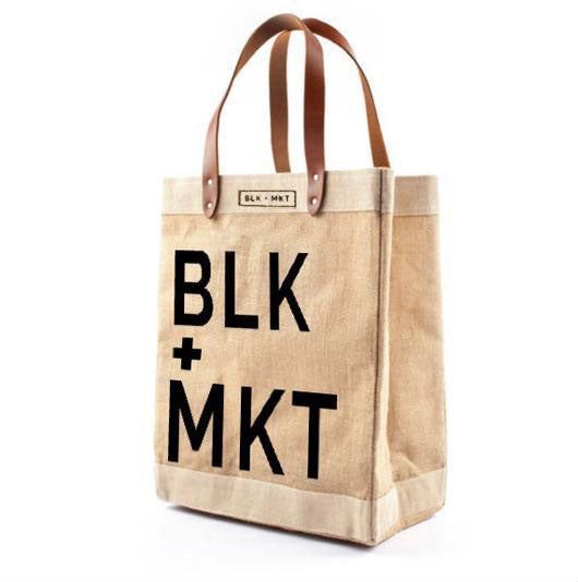BLK+MKT Jute Tote Bag w/ Real leather handle