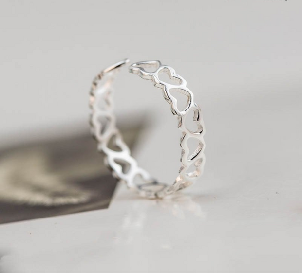 Heart Pattern Ring - Sterling Silver